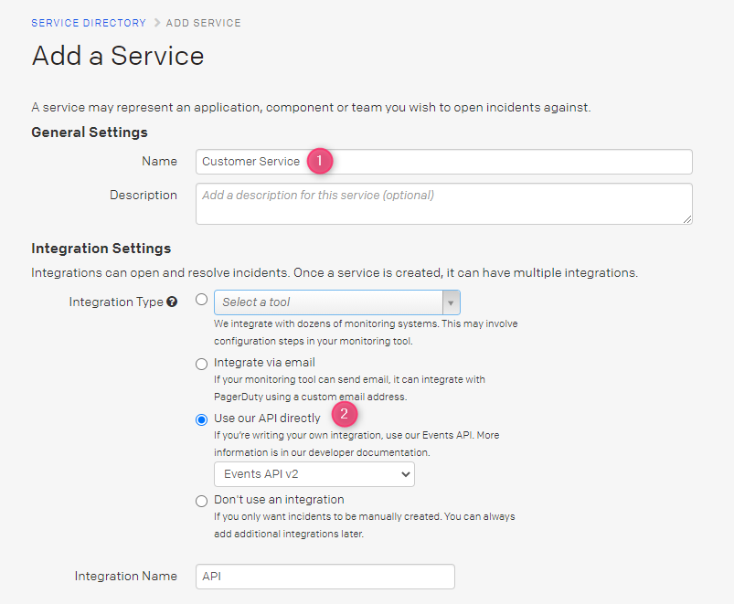 Create new Pager Duty service