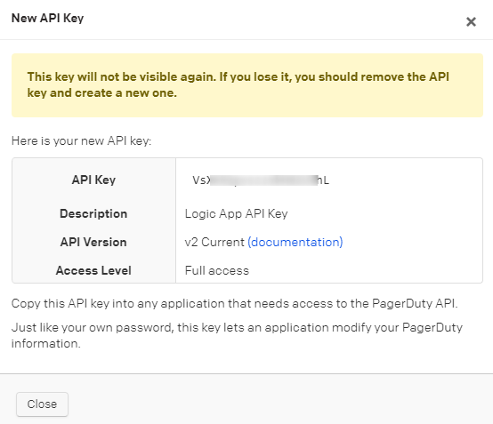 View Pager Duty API key